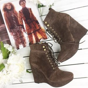 Michael Kors Brown Suede Lace Up Ankle Wedge Boots